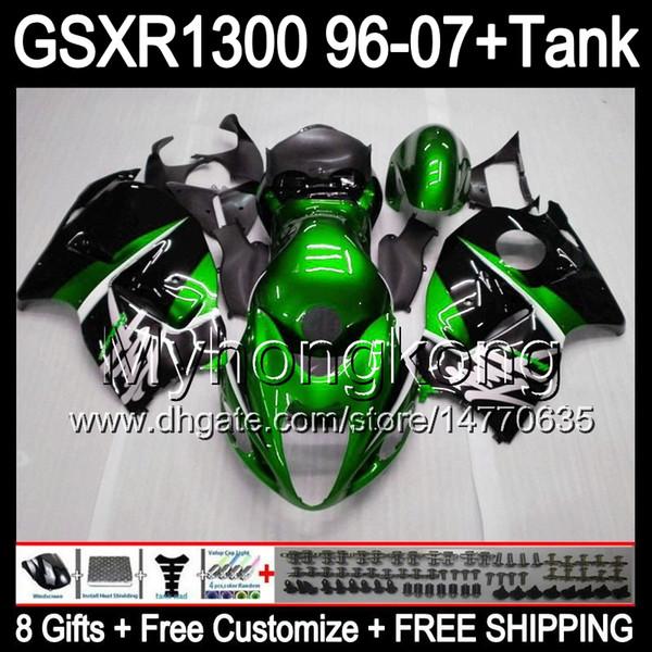 gloss green 8gift For SUZUKI Hayabusa GSXR1300 96 97 98 99 00 01 13MY220 GSXR 1300 GSX-R1300 GSX R1300 02 03 04 05 06 07 green black Fairing