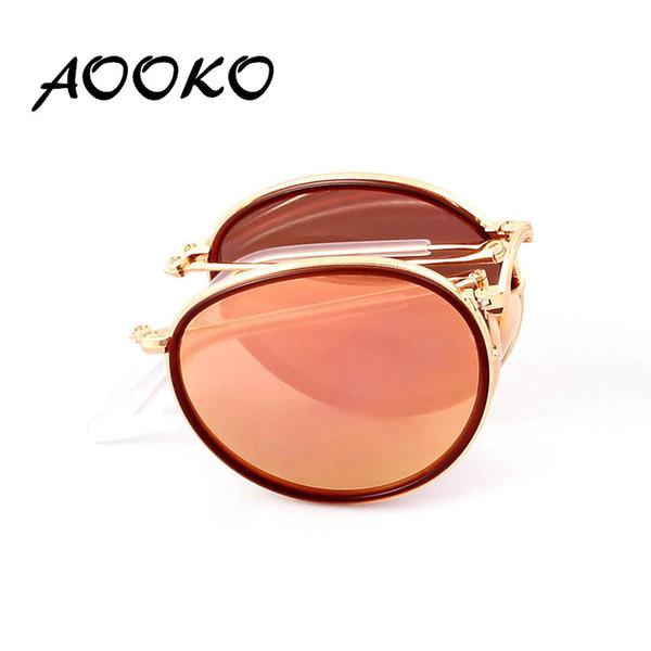 AOOKO Hot Newest Brand Designer Round Folding Retro Sunglasses Men Women UV400 Protection Gold Frame Pink Sunglasses Small Case