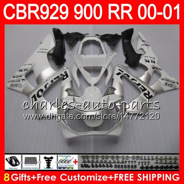 Body For HONDA CBR 929RR CBR900RR CBR929RR 00 01 CBR 900RR 67HM23 CBR929 RR CBR900 RR CBR 929 RR 2000 2001 Fairing kit 8Gifts Repsol Silvery