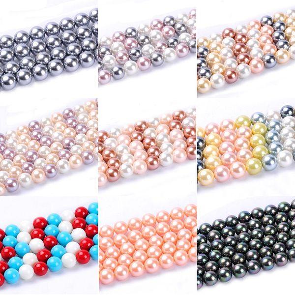 Takı Craft kolye için DIY 1pack / lot 12mm Moda Yuvarlak Top Doğal Shell İnci Gevşek Spacer Boncuk Karışık Çoklu Renkler