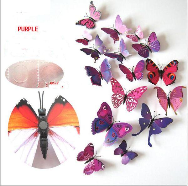 Butterfly Decorazione Eco-Friendly Cenerentola farfalla 3D adesivi murali 12pcs farfalle farfalla in PVC Wall Stickers Butterflys rimovibili