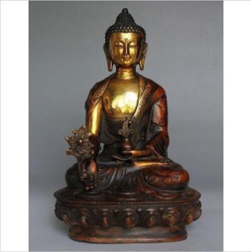 Alte tibetische Messing Buddhismus Bodhisattva Shakyamuni Buddha archaische Statue 20cm