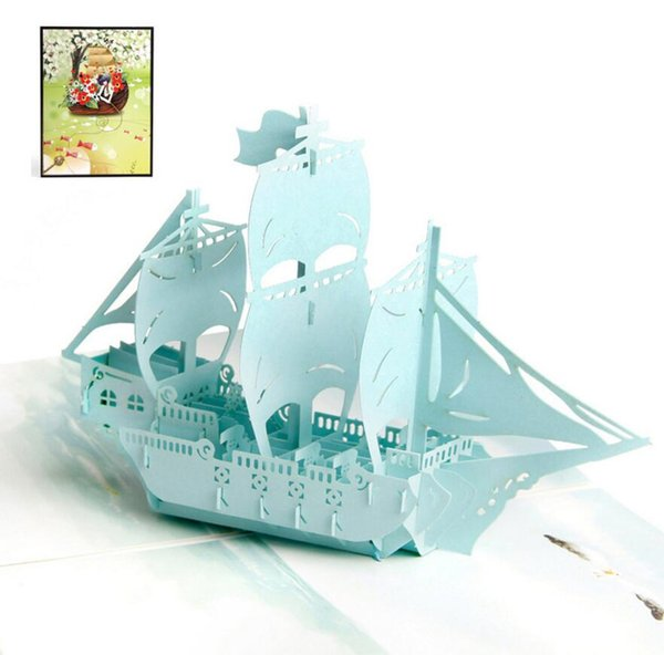 10pcs Colour Printing Sailing Handmade Kirigami Origami 3D Pop UP Greeting Cards Invitation card For Wedding Birthday Party Gift