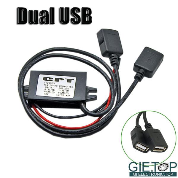 Al por mayor-DC-DC Car Converter Module 12V a 5V Adaptador de cargador USB doble Mini USB Micro Connector Potencia de salida W / Mounting Install Hole