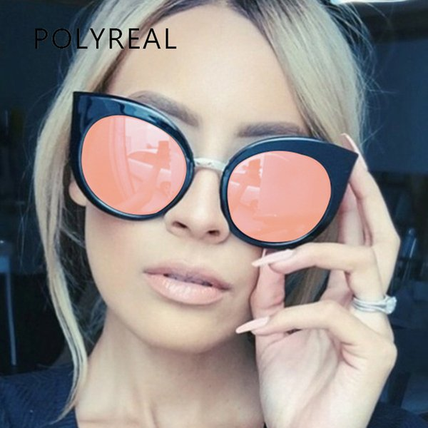 Wholesale- POLYREAL 2017 New Fashion Cat Eye Sunglasses Women Brand Designer Round Pink Rose Gold Mirror Cateye Sun Glasses Ladies Stylish
