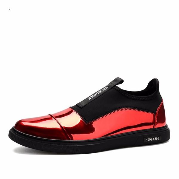 Zapatos planos flacos negros / dorados / rojos para hombre zapatos casuales zapatos de cuero genuino para hombre al aire libre botines