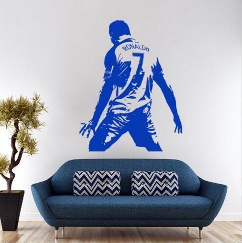 0403 Nuevo diseño Cristiano Ronaldo Figura Etiqueta de La Pared de Vinilo DIY decoración para el hogar fútbol Estrella Tatuajes de Fútbol Atleta Jugador calcomanías para niños habitación