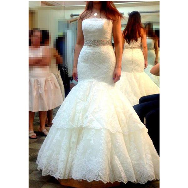 Mermaid Full Lace Wedding Dresses Strapless Diamonds Beads Sash Classic Design 2019 Bridal Gowns Custom Size Fashion