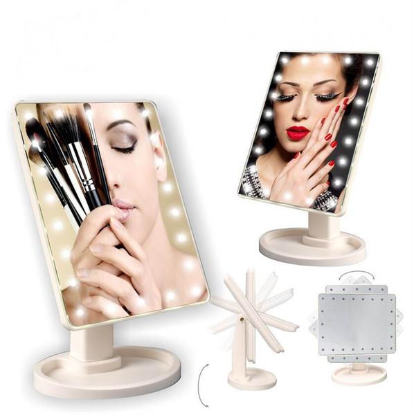 Rotación de 360 grados Pantalla táctil Espejo de maquillaje Cosmético Plegable Portátil Compacto Bolsillo con luces LED Herramienta de maquillaje 3 colores con caja