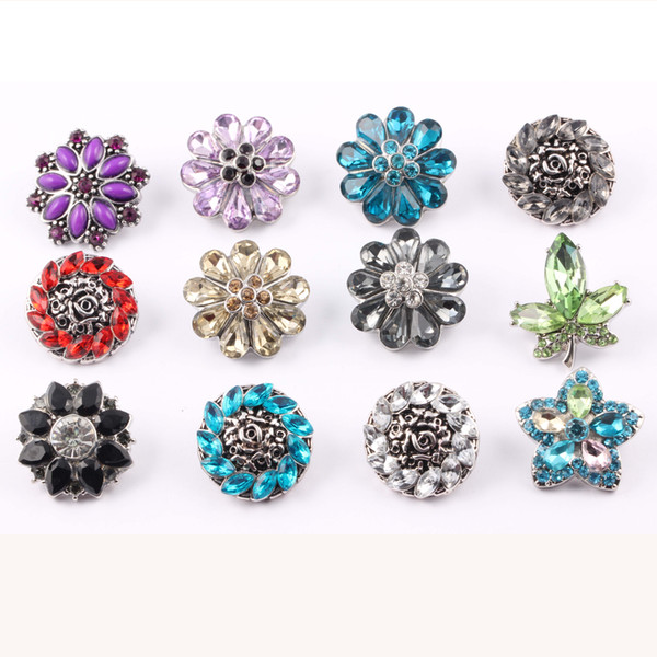 top popular Wholesale 18mm flower Shape Noosa Interchangeable Jewelry DIY Bracelets Metal Ginger Snap Buttons with Crystals 2021