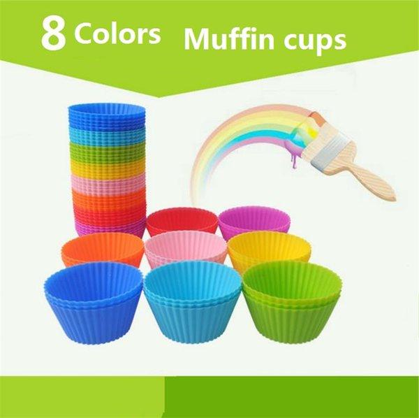 Sıcak Yuvarlak stilleri Silikon Muffin Kek Kalıbı Bakeware Maker Kalıp Tepsi Pişirme Bardak Astar Pişirme Kalıpları B0105