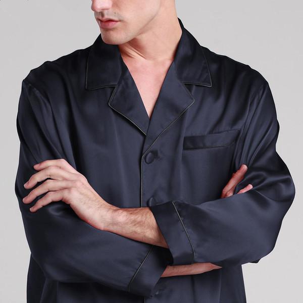 Mens Silk Pajamas Set Satin Chinese 22 Momme Pure Pyjama Homme Long Sleeve Sleeping Shirt Brand Male Luxury Sleepwear