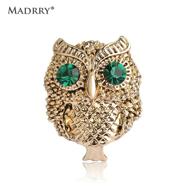Vintage Cool Owl Brooches Broches Bijoux Joias Ouro Plated Green From India Scarf Hijab Pins Up Accessories Retro Joias Jewelry