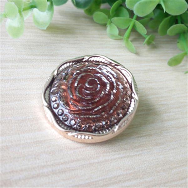 Résine à coudre boutons Dia.30mm doré tranchant Rose forme attaches décoratives pull manteau accessoires du vêtement DL_BUR018