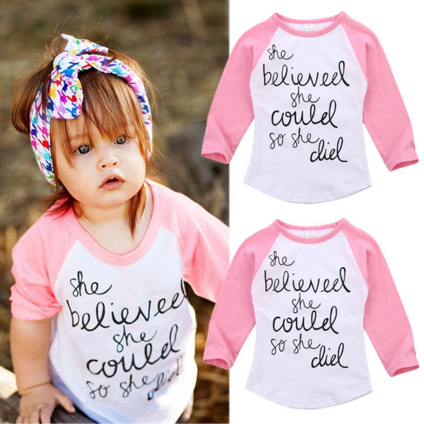 top popular 2017 Pink Long Sleeve White T-shirt Inspirational Letter Print Fashion Baby Girl Clothes Kid Clothing Cotton Toddler Top 2-7T Factory Tops 2020
