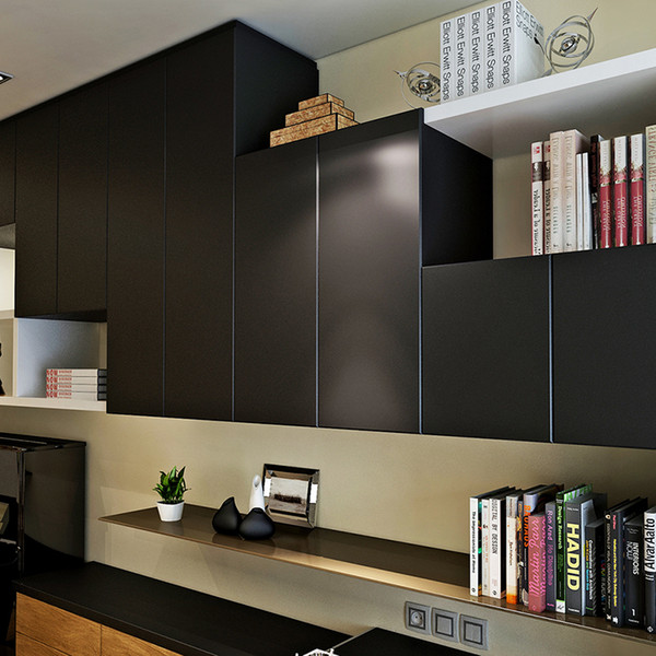 Self-Adhesive Modern Wallpapers Roll Peel and Stick Wall Papers Home Decor for Kitchen Backsplash Tile Living Black Sticker