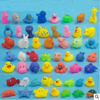 best selling Wholesale Baby Bath Toys Shower Water Floating Squeaky Yellow Ducks Cute Animal Baby Shower Toys Rubber Water Toys Free Shipping