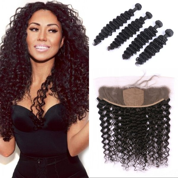 Indian Deep Wave Virgin Human Hair Bundles with Silk Base Lace Frontal 10-30 inch Curly Double Weft with Frontal FDSHINE
