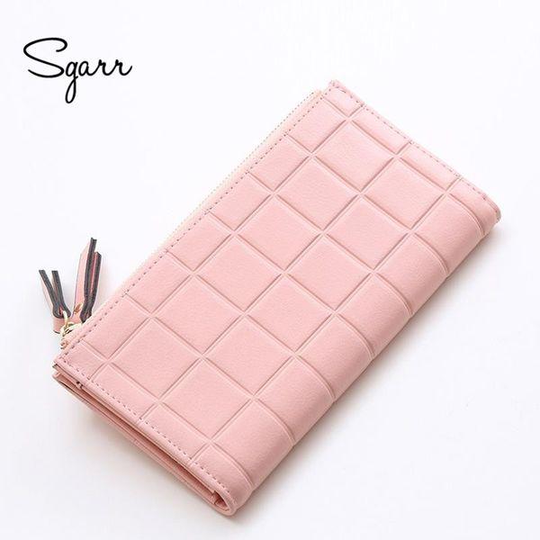 Wholesale- SGARR Fashion Women Purse PU Leather Wallet Female Long Designer Zipper Phone Pocket Causal Coin Purses For Girls