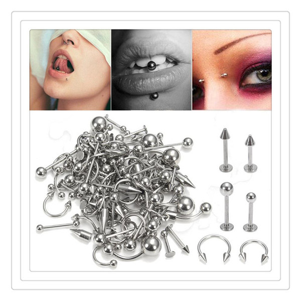 Wholesale Fashion Nose Rings Mix Silver Stainless Steel Navel Belly Lip Nipple Eyebrow Ear Studs Bar Ring Ball Piercing Kit Body Jewelry