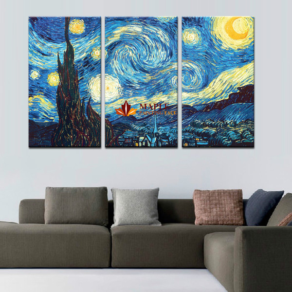 3 Piece Canvas Wall Art Starry Night by Vincent Van Gogh Giclee Fine Art Print on Canvas Home Decor Wall Painting For Living Room-Large Canv