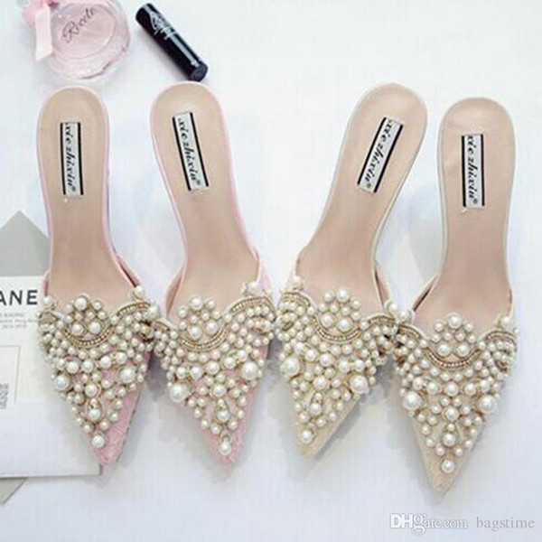 Pearl Rhinestones High Heels Shoes For Ladies Pointed Toes Shoes Pink And Beige Sandal Shoes Size 35-39 Free Shipping