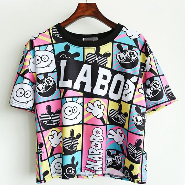 Wholesale- Camisetas Crop Top 2017 Summer Style Women T-shirt Unique Printed Tees Basic Short-sleeve Harajuku Bottoming Tops Free Shipping