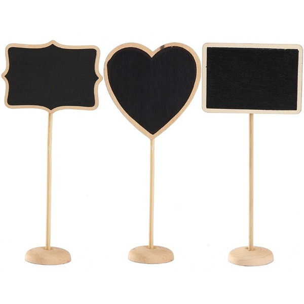 top popular Rectangle Heart Shaped Wood Mini Vintage Chalkboard Place Card Holder Stand for Dessert Table WordPad Message Board Holder Clip For Wedding 2020