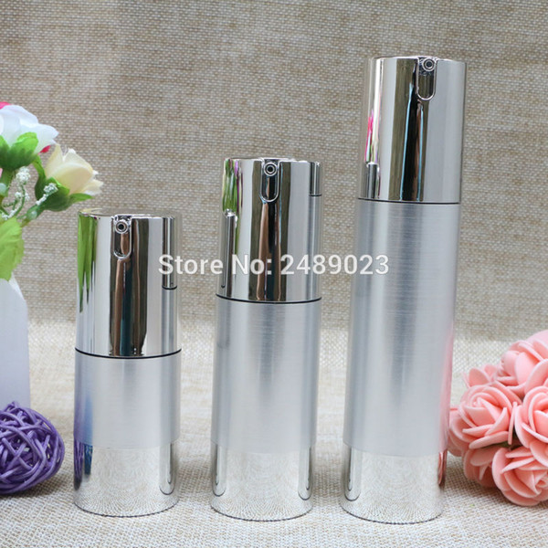 Al por mayor-herramientas de maquillaje de plata de alambre-dibujo botellas recargables 30 ml 50 ml loción de cosméticos envase vacío champú sin aire botella 10pcs / lot