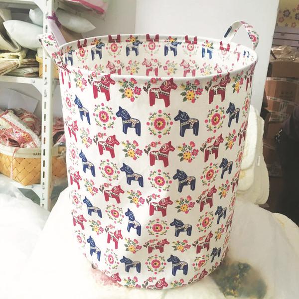 Cesto di stoccaggio in tela di cotone Pieghevole Sacchetto di immagazzinaggio giocattolo per bambini Vestiti del bambino Sacchetti della lavanderia con manico Vari colori Vendita calda 15bl J R