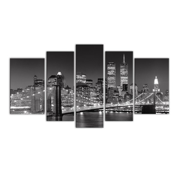 5 Panels Landscape Paintings Wall Art Black and White New York City Night View Print on Canvas Home Decor with Wooden Framed Ready to Hang