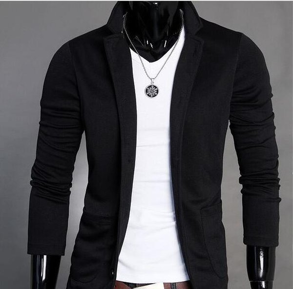 2017 Mens Slim Blazers Designs Suits for Men One Button Stand-up Collar Korean Jackets for Men Knitted