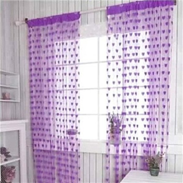 Romantic Heart Shape Line Curtain for Partition Wall Vestibule window Curtain Home Kichen tulle Sheer Curtains for Living Room free shipping