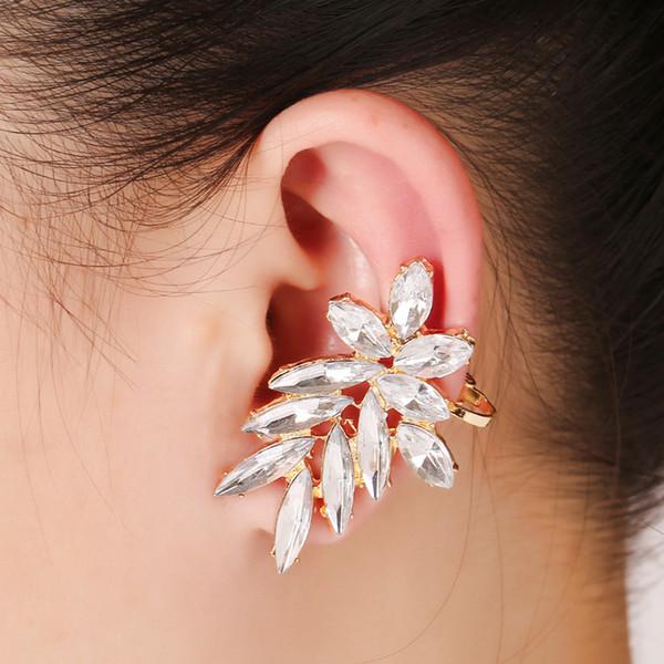 XS большой белый кристалл ювелирные изделия Серьги для женщин элегантный партия левое ухо клипы манжеты серьги женщины лист уха манжеты серьги Brincos
