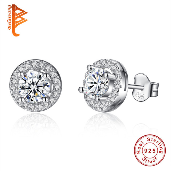 BELAWANG New Item Vintage Elegance Stud Earrings with Clear CZ 925 Sterling Silver Round Austria Crystal Earrings Fashion Women Jewelry Gift