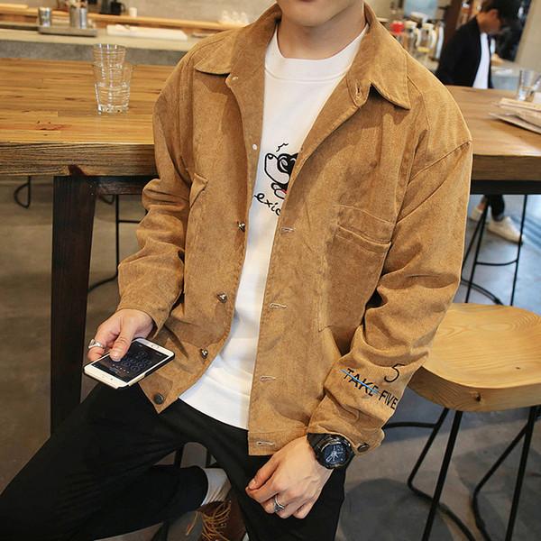 Großhandels-Herbst-Art und Weise Denimjacke Oberbekleidung fest Umlegekragen casual Mantel männlich Lose Herrenbekleidung Jeans Jacken khaki Größe 4XL