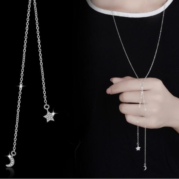 S925Silver diamond-studded moon and stars necklace New Fashion Jewelry For Women Clothing accessories Fashion hanging chain free shipping