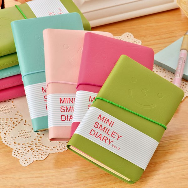 Wholesale- MEIKENG Faux Leather Smile Notebook Daily Memos Notepad Composition Book Office Supplies School Supplies South Korea Stationery