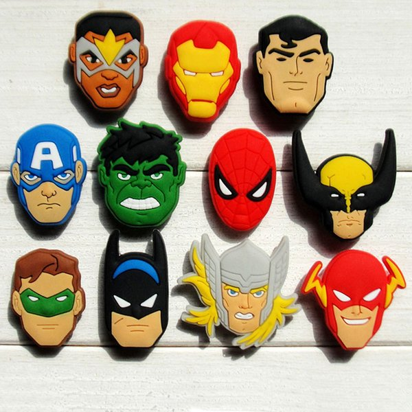 55pcs Avengers PVC Shoe Charms Ornaments Buckles Fit for Shoes & Bracelets ,Charm Decoration,Shoe Accessories Party Gift Free Shipping
