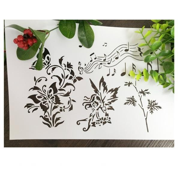 DIY stencil pattern design Masking template For Scrapbooking,cardmaking,painting,DIY cards and wall painting-Music elves weeds butterfly 226