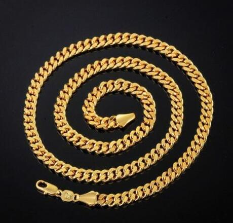 New Fashion Casual Wear Round 14K Gold Plated Cuban Chain Necklace For Men
