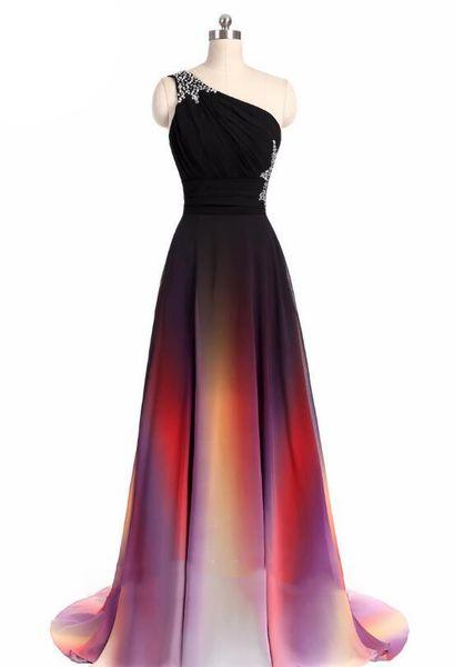 Gradiente Ombre Prom Dresses Side Split Evening abito formale One-spalla vestito da partito di cristallo vita 2017 donne moderne abiti da spettacolo