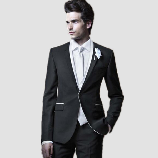 Elegant Style Men suits Dinner Party Prom Suits tailor made Groom Tuxedos Groomsmen Wedding Suits (Jacket+Pants+Vest)