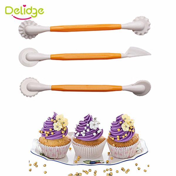 Delidge 3 pcs/set Fondant Cake Pen Decoration Set 6 Patterns Flower Sugarcraft Modelling Tools Engraving Cutting Pens Tool