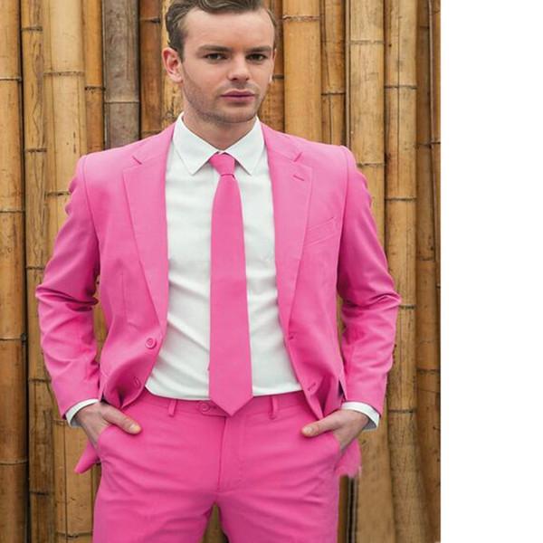 2018 2018 Costume Bespoke New Style Groom Tuxedos Hot Pink Notch ...
