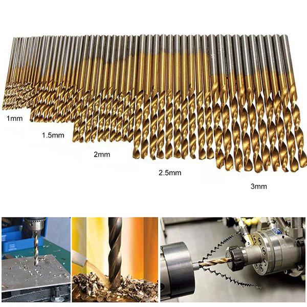 50pcs High Speed Steel Twist Drill 1.0/1.5/2.0/2.5/3.0mm Titanium Coated HSS Drill Woodworking Hand Tools Drill Bit Set