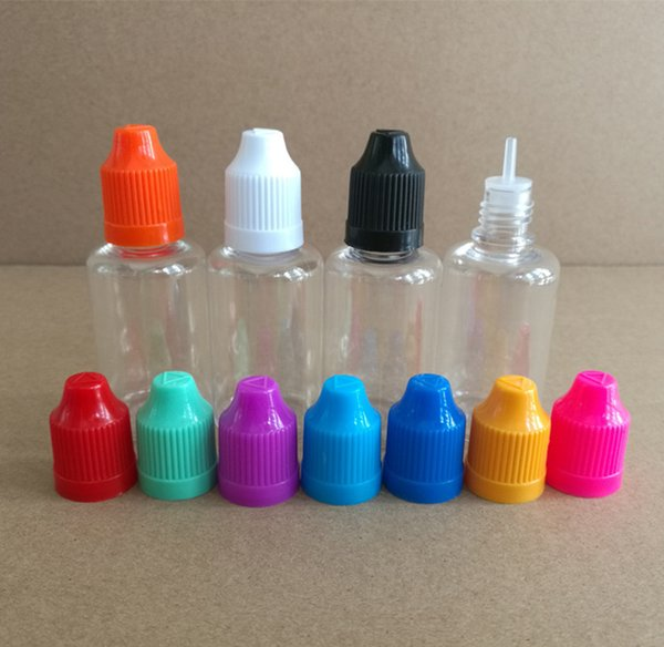 30ML E Liquid Bottle 30ml PET Plastic Dropper Bottles With ChildProof Cap and long fine tips Clear Eye Liquid Bottle
