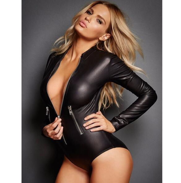 Sexy Faux Leather Catsuit Gótico de Manga Comprida Lingerie Curta Bodysuit Plus Size 2XL Preto Látex Bodycon Macacão