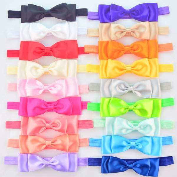 2018 New Arrival Rushed free Shipping 50pcs/lot Candy Color Elastic Headband with Satin Silk Bow Cheap Girl Hair Accessories 25 Colors Fd234