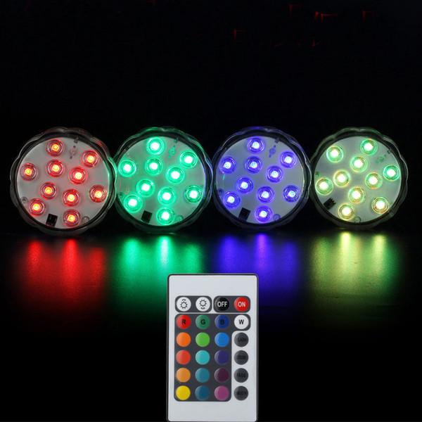 RGB Control remoto multi 16 colores a prueba de agua sumergible Led Light Jarrones Base Light para boda Celebración